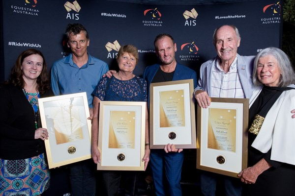 EA CEO Paula Ward (left) and Chair Judy Fasher (far right) with Hall of Fame Inductees Kent Exell representing brother Boy, Gill Rolton, Stuart Tinney