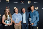 EA Young Athlete of the Year Mary Warren with Domestic Athlete of the Year Clint Beresford Mark Hopkinson and International Athlete of the Year rep Ke