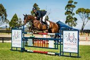 Brook Dobbin and Carrado MVNZ, winners of the Sam Williams Equestrian Grand Prix - © Geoff McLean - Gone Riding Media