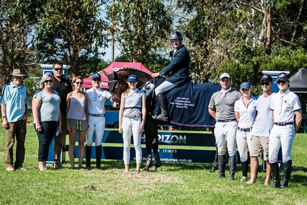 Brook Dobbin and Carrado MVNZ, winners of the Sam Williams Equestrian Grand Prix with the organising commitee - © Geoff McLean - Gone Riding Media