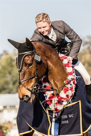 Aaron Hadlow and Vahlinvader, winners of the 2018 Magic Millions World Cup Qualifier at Gatton. © Calico Pony