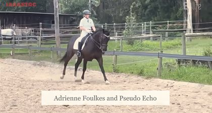 Adrienne Foulkes riding her test with Psuedo Echo