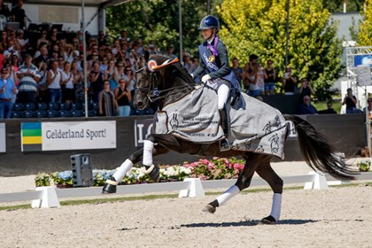 Black stallion, Glamourdale won the Seven-Year-Old Final for Great Britain's Charlotte Fry ©FEI/Dirk Caremans