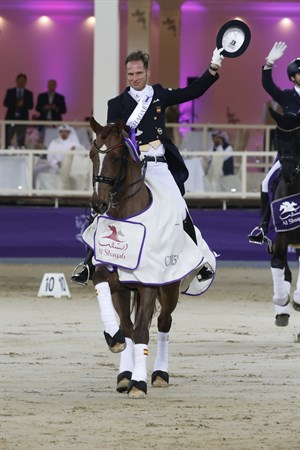 Borja Carrascosa and Ein Traum 2, winners of the CDI5* Grand Prix Freestyle. © CHI AL SHAQAB 2019