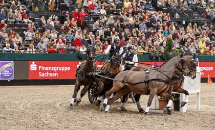 Boyd Exell (AUS) and his Four-in-Hand team in the FEI World Cup™ Driving, Leipzig - Photo FEI/Stefan Lafrentz