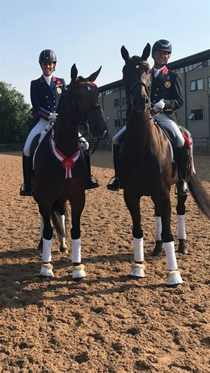 Charlotte Dujardin on Mount St John Freestyle and Carl Hester riding Hawtions Delicato - Photo harlotte Dujardin CBE Facebook page