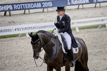 Dorothee Schneider on Showtime FRH at the 2019 Longines FEI Dressage European Championships in Rotterdam © FEI/Liz Gregg