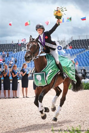 Great Britain's Rosalind Canter and Allstar B who finished on their dressage score of 24.6 to take the gold medal - © Michelle Terlato