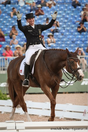 Isabell Werth was emotional after her test on Bella Rose, scoring 84.829% to win the Grand Prix - © Michelle Terlato