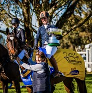 "Jade Finlay and Oaks Cordelia: The 2018 MI3DE CCI3* is officially theirs with Janet Houghton and the ""Cup"" - © Geoff McLean/Gone Riding Media"