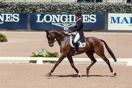 Julia Krajewski and Chipmunk FRH lead the dressage phase so far on 19.9 - © FEI/Liz Gregg