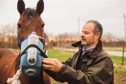 Laurent Couëtil uses an equine nebulizer to administer treatment for asthma. © Purdue University photo/Rebecca Wilcox