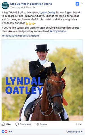 Lyndal Oatley's pledge. © Stop Bullying in Equestrian Sports Facebook page