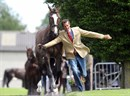 Mark Todd flies down the runway during the trot up. © Lorraine O'Sullivan