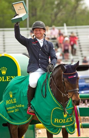 Michael Jung was all smiles when he received  the Rolex watch for winning with FischerRocana FST at Rolex Kentucky. © Michelle Dunn Photo