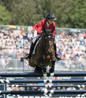 Nicole Walker riding Falco Van Spieceld during the CSIO5* Jumping Nations Cup of Canada © FEI/Rebecca Berry