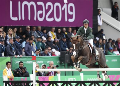 Pedro Veniss riding Quabri de L'Isle wins gold for Team Brazil on Day 12 of Lima 2019 Pan American Games © Raul Sifuentes/Getty Images for FEI