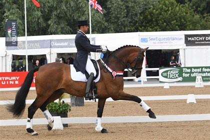 Portugal's Luis Principe won  the FEI CDI Intermediate I aboard James Walker's R.S.Raphael © Hartpury's Festival of Dressage