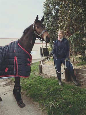 Raquel taking Zidane for a walk for the first time following his surgery. Photo: Emma Booth Para Equestrian Facebook page