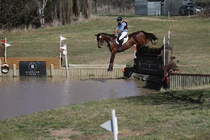 Shane Rose and Swiper leap into the water at the Canberra International Horse Trials. © Fiona Gruen form Wallaroo Equestrian