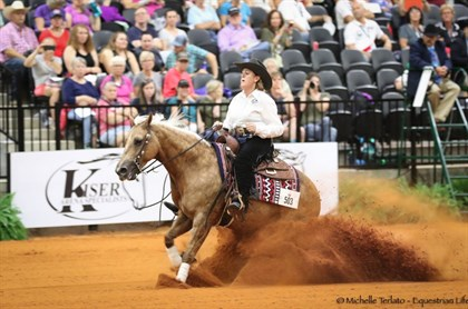 Shauna Larcombe and Designed With Shine scored 219 in the reining final - © Michelle Terlato