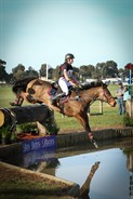 Sophie Negre on Card Sharp jump the Bates Water Complex in the CCI1* © Michelle Terlato