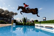 Steve Guerdat on Bianca over the Water Jump at the FEI World Equestrian Games © FEI/Martin