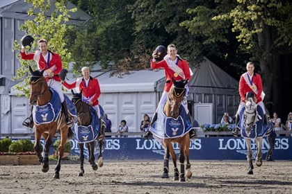 Team Belgium made history with their first-ever team gold medals at the Longines FEI Jumping European Championship. © FEI/Liz Gregg