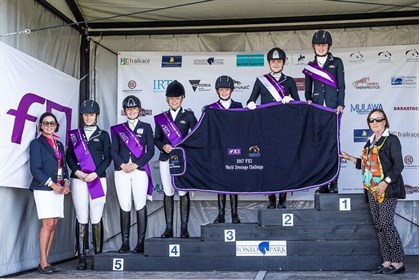 Winners of Youth Class, FEI World Dressage Challenge 2017. Photo: Equestrian Australia