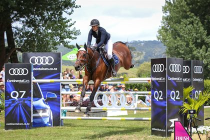 (not for re-use) Back-to-back POLi Payments FEI World Cup New Zealand final winer Brooke Edgecombe aboard LT Holst Andrea will be chasing a three-peat